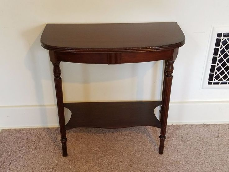 Vintage Entry Table Display ~ Vintage antique wood d shape hall foyer console entry
