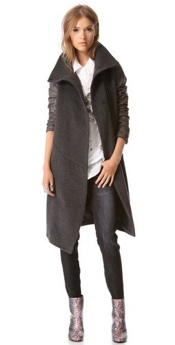 Tess Giberson Leather Sleeve Trench Coat | SHOPBOP