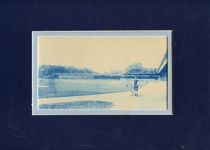 CYANOTYPE MAN WITH BIKE ON ATHLETIC FIELD VINTAGE PHOTO