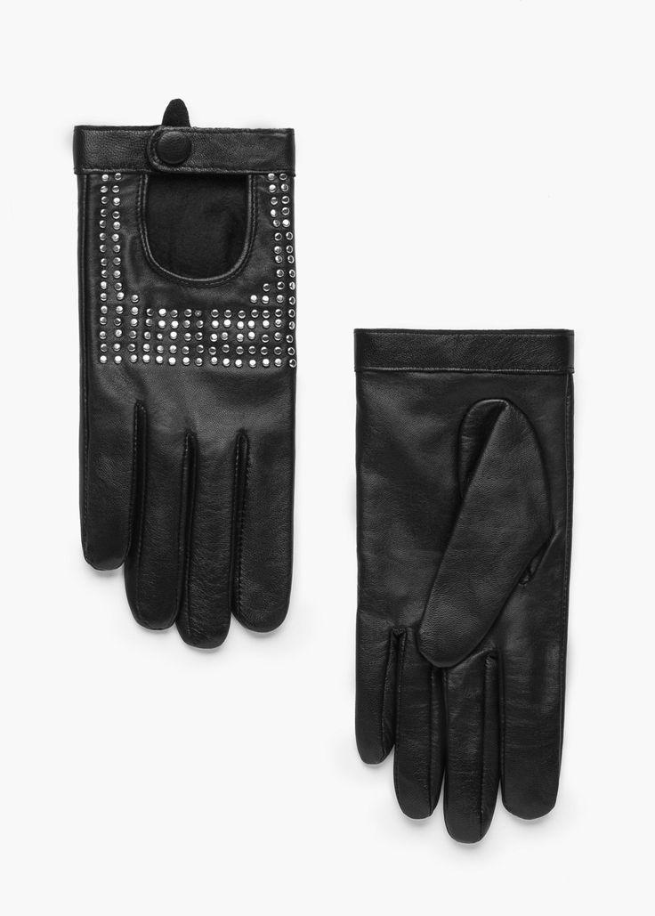 Gants cuir cloutés -  Femme | MANGO