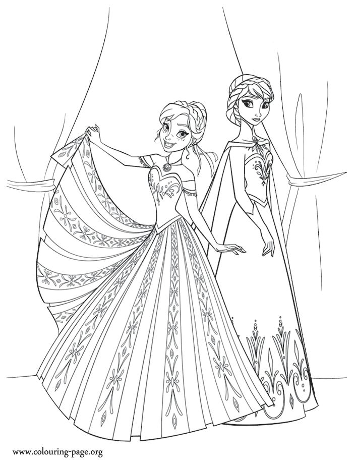 The two sisters Anna and Elsa don't always get along. Enjoy this another beautiful Disney Frozen movie coloring sheet!