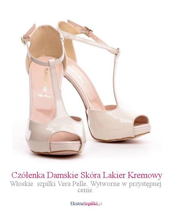 szpilki kremowe - Czółenka Damskie Skóra Lakier Kremowy - Włoskie  szpilki Vera Pelle. Wytworne w przystępnej cenie.