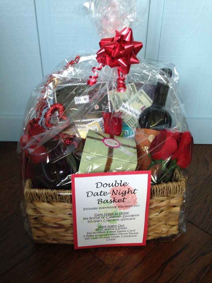 Auction Double Date Night Basket - first date night includes $50 restaurant gift card, $25 cash for babysitter, 2 movie tickets, $22.50 Main Event game cards, and for second date $49 bottle of wine and $15 Gigi cupcake card for dessert!