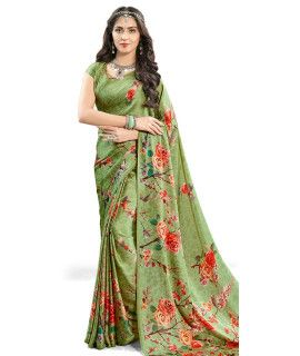 Luxurious Green And Multi-Color Satin Saree.