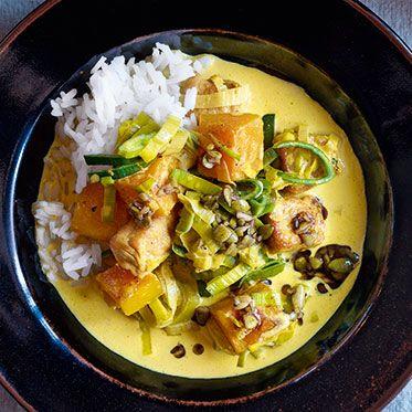 Kürbis-Schnitzel-Ragout mit Curry und Sahne
