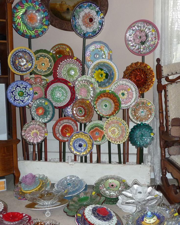 Plate Flower Bed. #261.                                       Garden Yard Art glass and ceramic plate flower