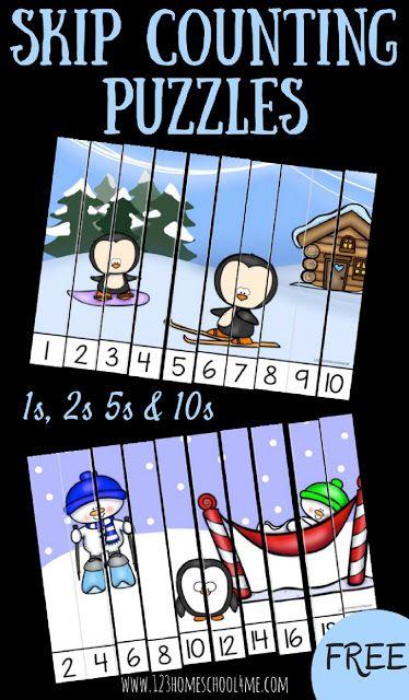 GRATIS invierno Skip Counting Puzzles Prek, jardín de infancia, y los estudiantes de primer grado a la práctica de conteo por 1s, a contar por 2 de, a contar por 5 de, a contar por los años 10.  Este juego de matemáticas de la diversión es perfecto para centros de matemáticas, educación en casa, actividades educativas, y como fundamento para la multiplicación.