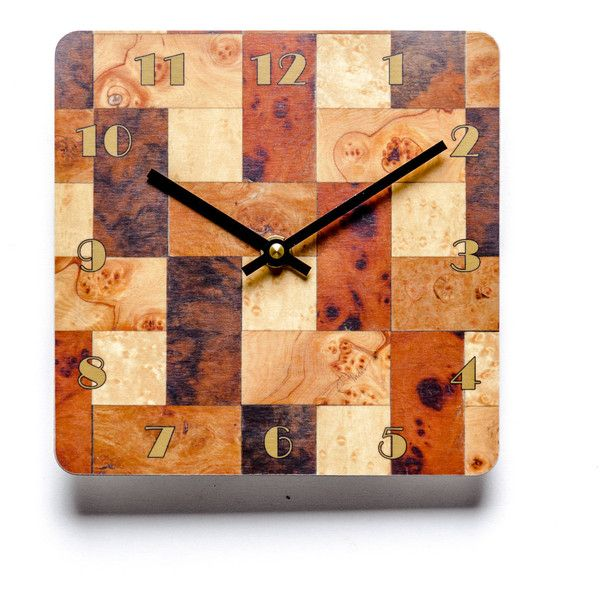 Wall Clock Copper Brown Cream Wall Clock Birthday Gift Him Melamine... (€22) ❤ liked on Polyvore featuring home, home decor and clocks