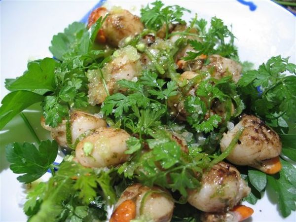 Maggie Beer's scallops with finger limes