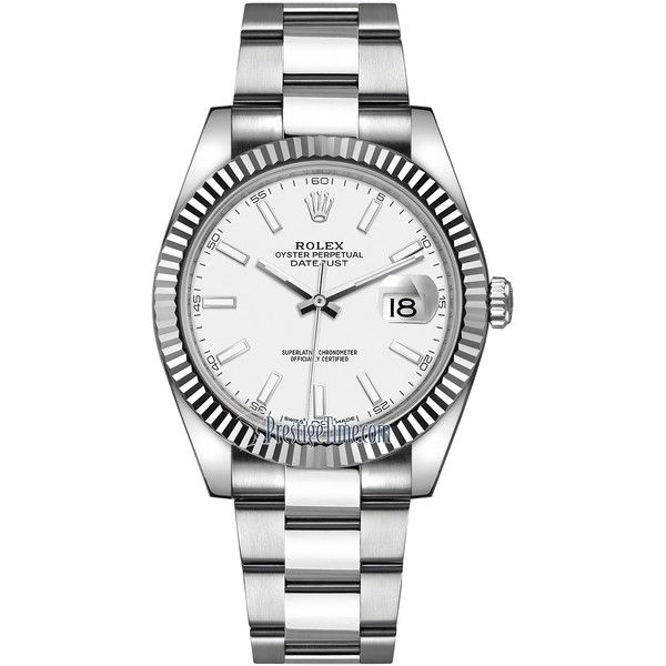 Rolex Datejust 41mm Stainless Steel 126334 White Index Oyster Watch ($8,415) ❤ liked on Polyvore featuring men's fashion, men's jewelry, men's watches, stainless steel, stainless steel mens watches, rolex mens watches and mens white watches