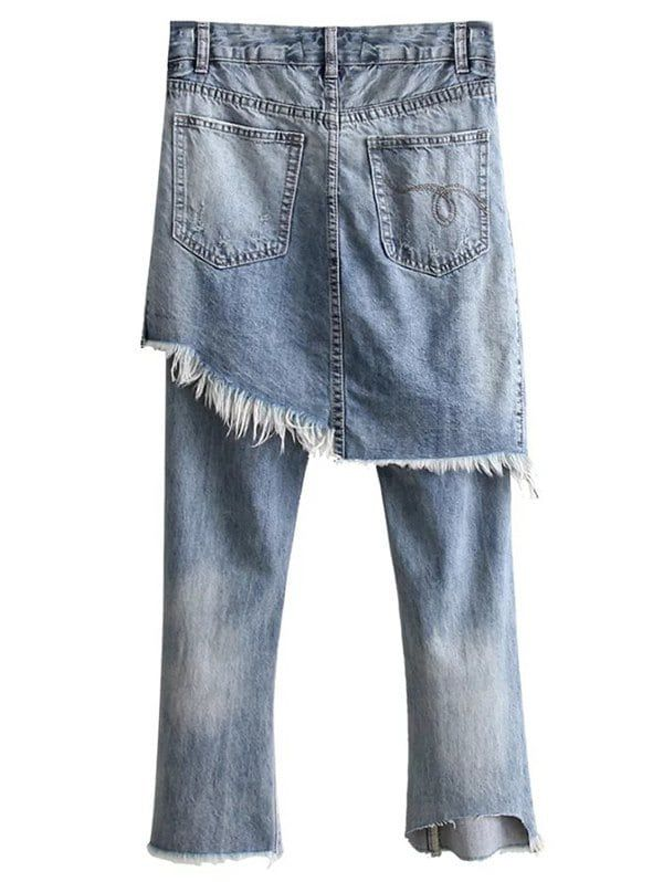 Bleach Wash Ripped Skirted Jeans - DENIM BLUE L