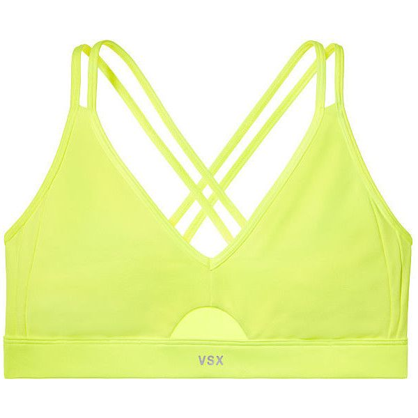 Victoria's Secret Keyhole Mesh Sports Bra ($20) ❤ liked on Polyvore featuring activewear, sports bras, yellow sports bra, yoga activewear, victoria secret sports bra, victoria secret sportswear and strappy sports bra
