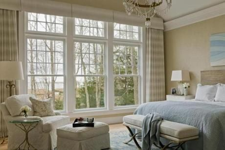 """light, crisp, and clean"" bedroom with an ocean view. Designer Cynthia Driscoll. Via Boston Globe Magazine"
