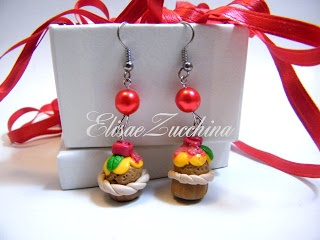Handmade earrings with fimo cupcakes and glass beads by www.elisaezucchina.blogspot.it