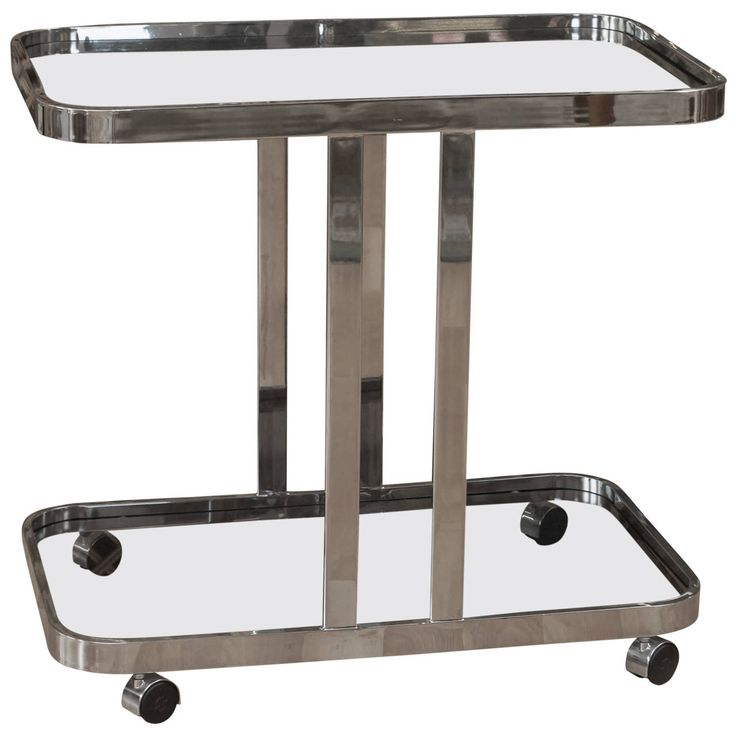 Luxury Chrome and Glass Bar Cart
