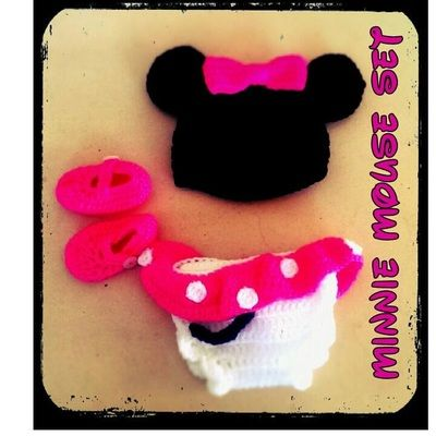 Minnie Mouse crochet baby set - Thing-a-ma-bobs