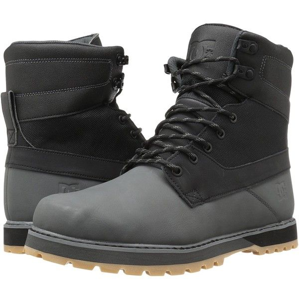 DC Uncas (Black/Battleship/Black) Men's Lace-up Boots ($70) ❤ liked on Polyvore featuring men's fashion, men's shoes, men's boots, men's work boots, black, mens leather boots, mens black boots, mens military boots, mens black leather boots and mens leather work boots