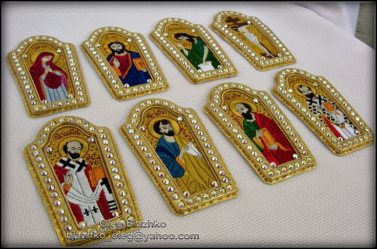 icons for mitre (Blazhko's gold embroidery) Tags: goldwork handembroidery