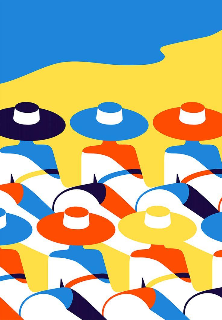 "Malika Favre - ""Riviera"" • un-kitchy, classic art poster style à la Art Deco & Bagel cocktail • french graphic illustrator • official site: http://malikafavre.com"