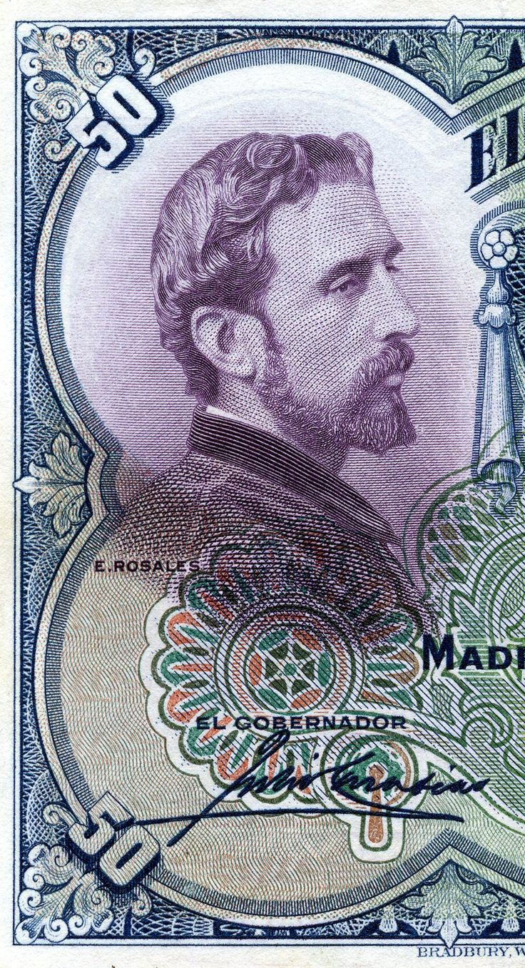 detail of vintage Spanish currency 1931