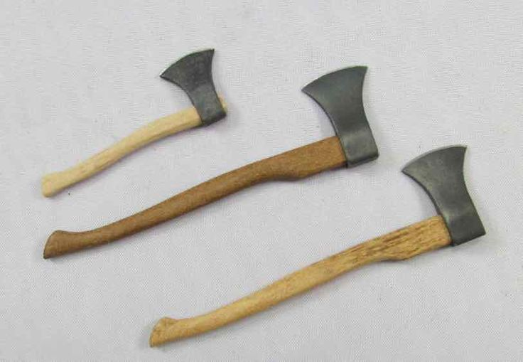 12th scale miniature wood chopping axe for a dolls house.