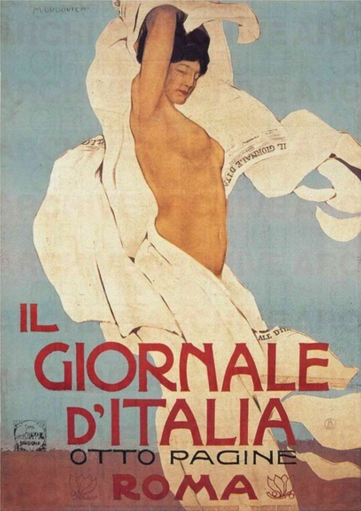 Marcello Dudovich (1878-1962, Italy), ca. 1910,  Il Giornale d'Italia, Lithographic printing in color, 200 x 140 cm.