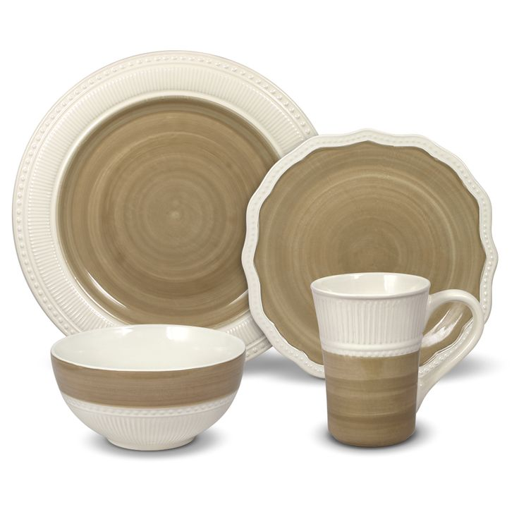 From Gourmet Basics by Mikasa® Collection. Crafted of stoneware.  32 piece dinnerware set, service for eight, includes (8) each: 11 inch dinner plate, 8-3/4 inch salad plate,...