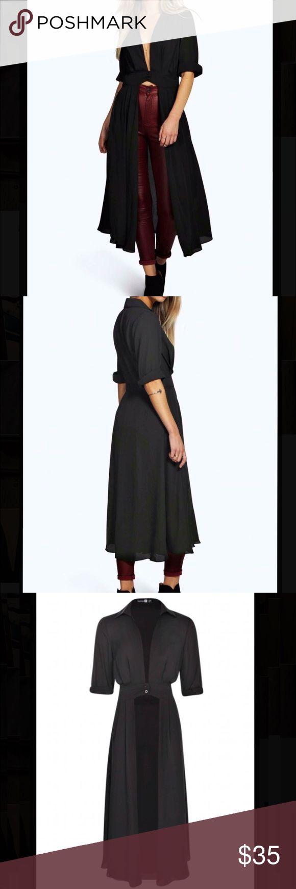 Neck split maxi shirt Boohoo black Shirley plunge neck split maxi shirt. Boohoo Dresses Maxi