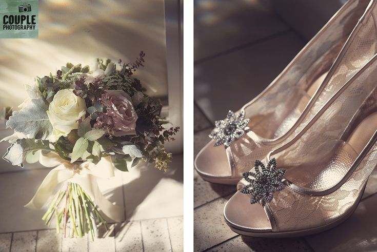 The sunlight falls on the bride's bouquet with muted pastel colours and her wedding shoes. Weddings at The Cliff at Lyons by Couple Photography.