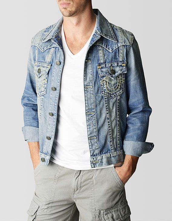 1945d7dc30880 Adding to the sunbleached denim collection is our signature trucker jacket,  the Jimmy. Premium denim goes through a heavy distress pr…