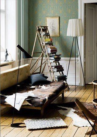 Books.: Bookshelves, Ladder Bookshelf, Living Rooms, Books Display, Old Ladder, Books Shelves, Books Shelf, Ladder Bookcases, Books Storage