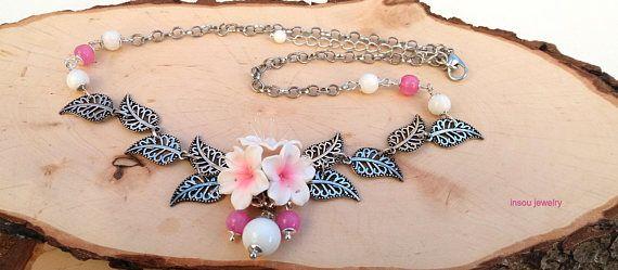 Sakura Pink Necklace Cherry blossom Sakura Jewelry Pink