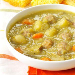 Split Pea Soup with Meatballs Recipe (épices style ragoût )à faire ds mijoteuse