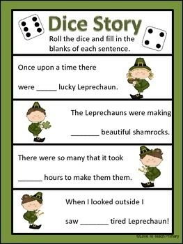 Roll the dice to complete the Leprechaun story- might be cute for a kids activity with residents.