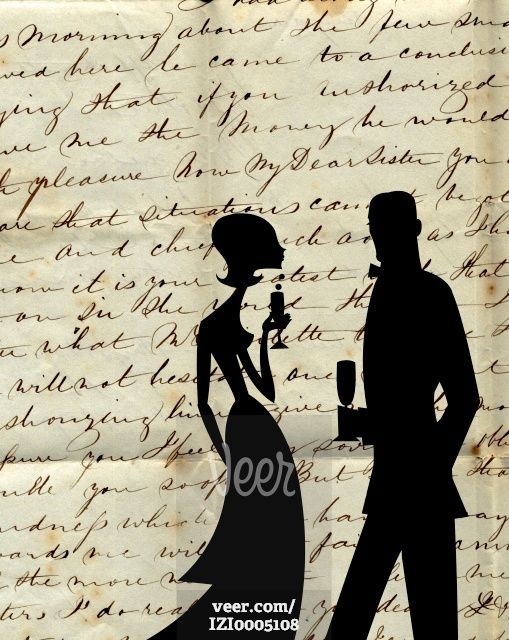 Silhouettes of a man and woman holding cocktails against a background of old script Stock Illustration