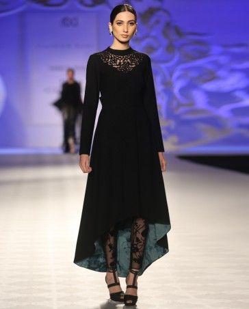 Varun Bahl Black Low High Hem Dress and Textured Leggings