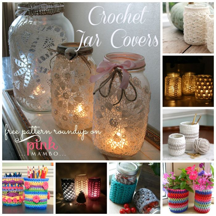 Crochet Jar Covers ~ free patterns