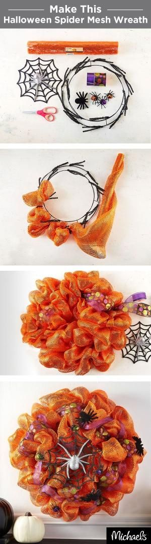 Craft a spooky spider wreath with orange metallic mesh and colorful ribbon. Use chenille stems to tie the mesh to your wreath form and then weave ribbon throughout. Don't forget to add some furry spiders for a haunting touch! Find all the supplies for this wreath at your local Michaels store. by kelli