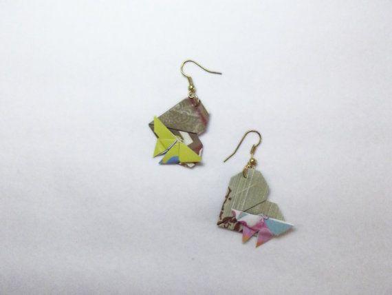Orecchini cuore origami con farfalla, pendente di carta by Bynadialab #italiasmartteam #etsy