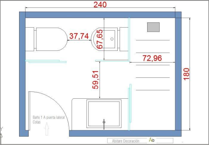 distribucion baño | Planos de baños pequeños, Planos de ...