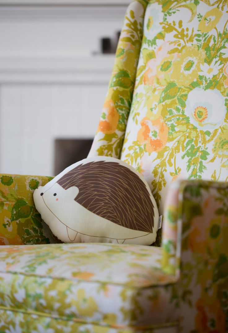 """This sleepy hedgehog is ready for a nap! The front of this pillow features an original Gingiber illustration printed onto a cotton/linen blend fabric. Approximately 10"""" wide. - Backed with 100% cotton"""
