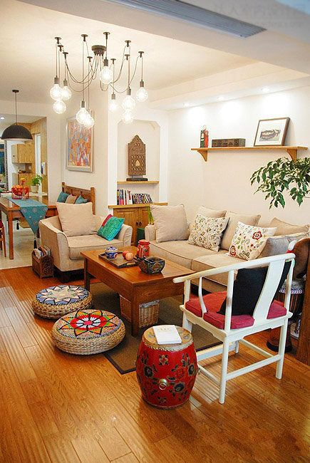 Ethnic Indian Living Room Decor Idea From Artikrti With Pops Of Color Goodies Weve Picked Up While Traveling