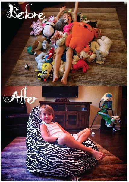5 easy ways to store stuffed toys - Bean bag stuffed toy storage. How clever!