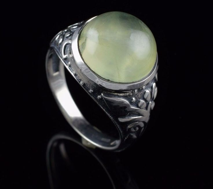 NATURAL PREHNITE GEMSTONE MENS RING SIZE 7 US 925 STERLING SILVER JEWELRY KJR35 #Handmade
