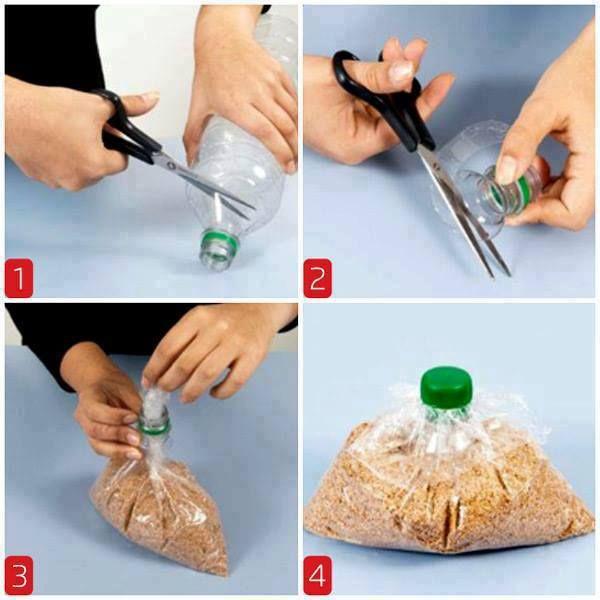 Cleverer Einsatz für alte Plastikflaschen als Beutelverschluss. GEfunden auf