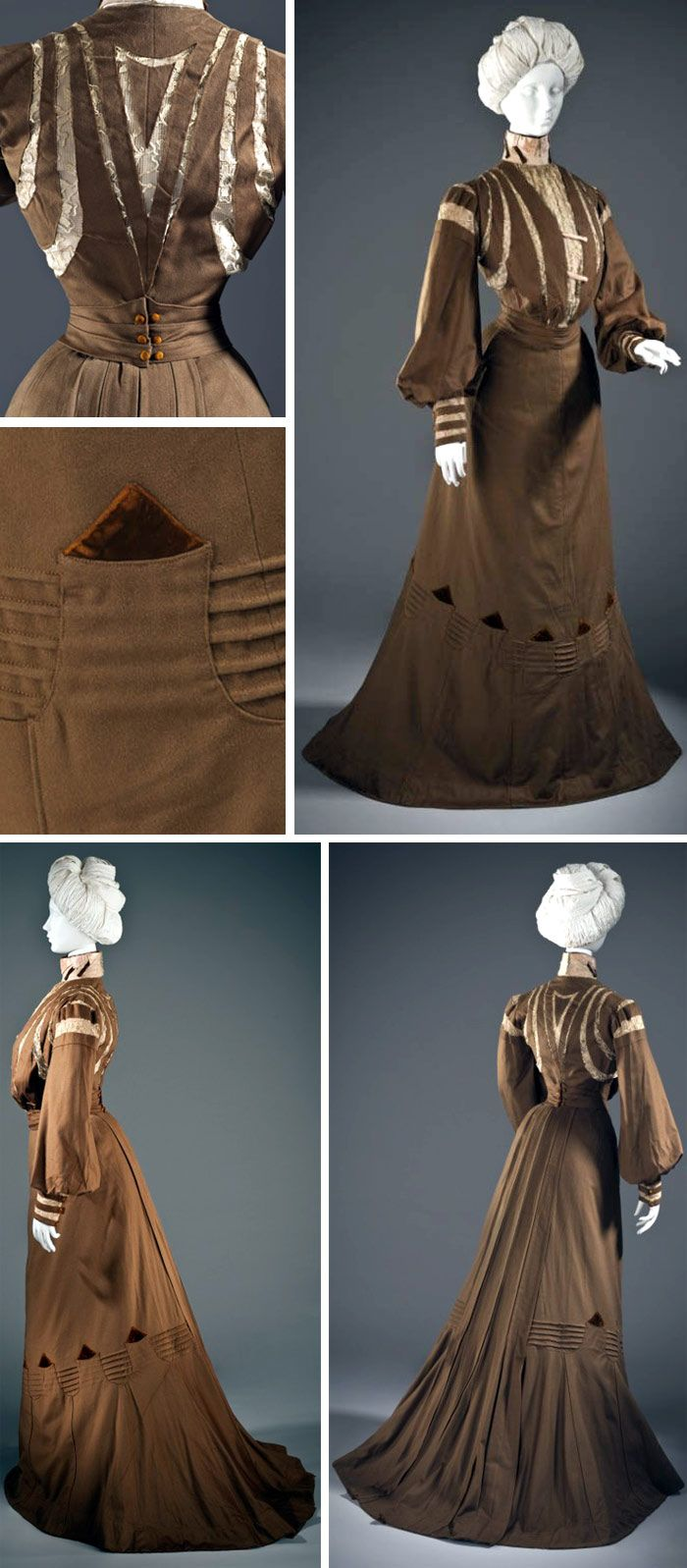 Dress, French, ca. 1900. Wool twill, full finish, with linen lace, silk crepe, silk velvet, and cotton plain-weave trim. Los Angeles County Museum of Art