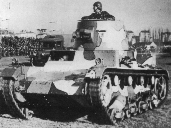"1934 Polish Vickers tank - note the camouflage ""Japanese style"""