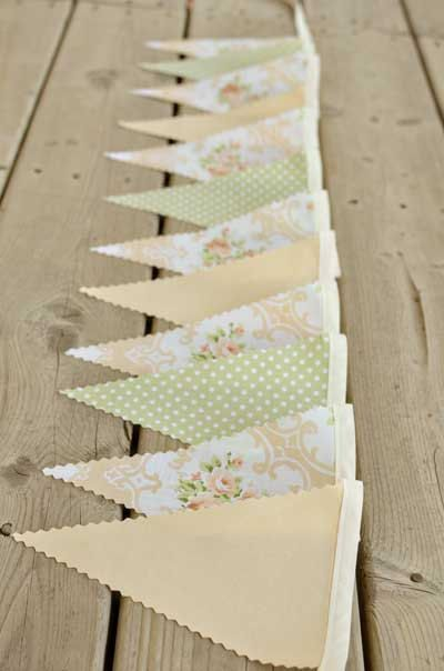 Soft  - Vintage Bunting Banner with 12 Flags. $22.00, via Etsy.