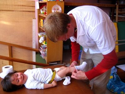 Intern on the Nursing Project Taking Care of Children in Peru
