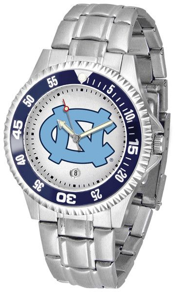 Men's Competitor Steel Watch by Suntime Showcase the hottest design in watches today! A functional rotating bezel is color-coordinated to compliment your favorite team logo. A durable, stainless steel